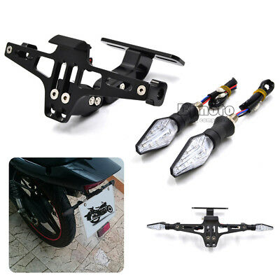 Motorcycle Bike License Plate Bracket with 2x LED Turn Signal Tail Amber Light
