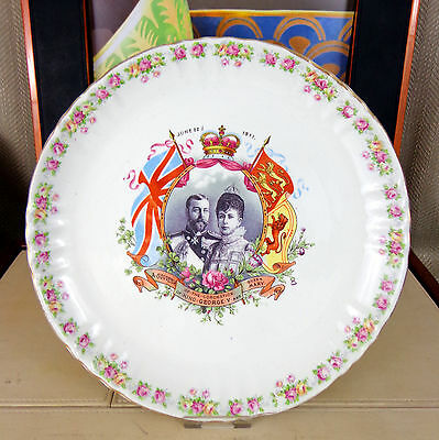 Antique King George V Commemorative Plate Coronation 1911 Queen Mary Royal Vtg B