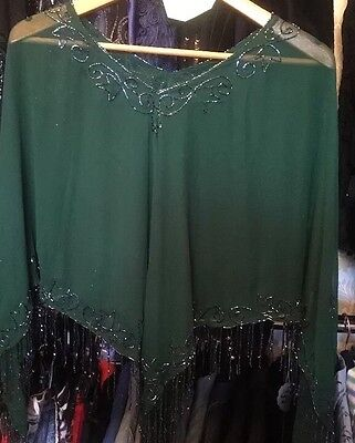 Ladies Vintage Halloween Sequin Fringed Cape Chiffon Racing Green Voile