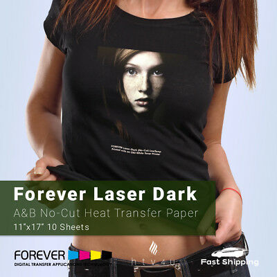 "Forever Laser Dark No-Cut A & B Heat Transfer Paper 11"" x 17""- 10 Sheets"