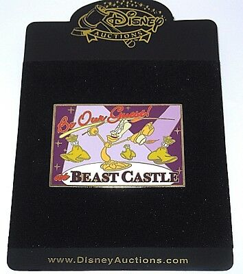 LE 100 RARE Disney Auctions Pin✿Beauty and Beast Be Our Guest Lumiere Postcard