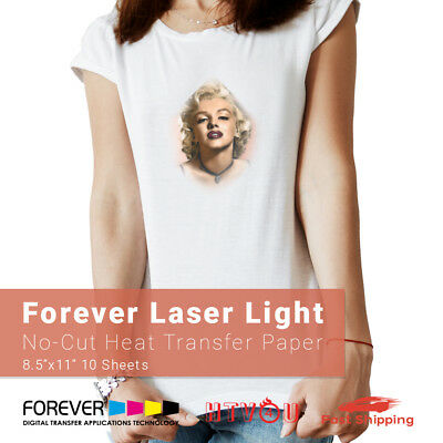 "Forever Laser Light No-Cut Heat Transfer Paper 8.5"" x 11"" - 10 Sheets"