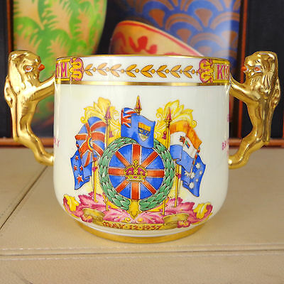 George VI Mug Paragon China 1937 Coronation Gold Lion Twin Handled Loving Cup