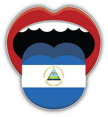 Nicaragua Flag Mouth Car Bumper Sticker Decal 5'' X 5''