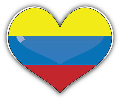 Colombia Glossy Heart Flag Car Bumper Sticker Decal 5'' x 4''