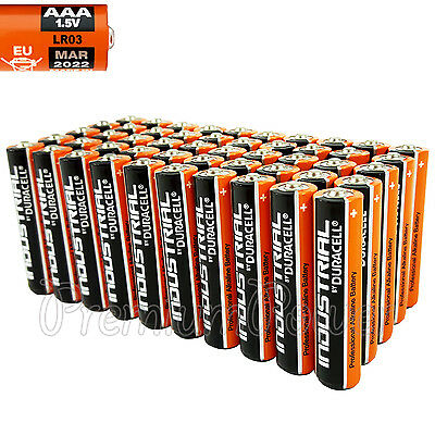 50 Duracell AAA batteries Industrial Procell Alkaline MN2400 LR03 1.5V EXP:2022