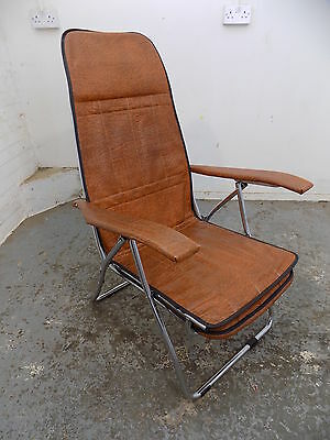 folding chair,faux leather,reclining,foot rest,deck chair,garden,1970's,vintage