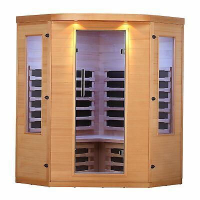 4-Person FAR Infrared Sauna w/ 7 Carbon Infrared Heaters, Bluetooth Audio, LEDs