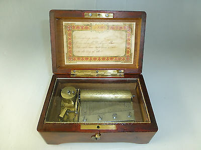 ANTIQUE 1890s SWISS MUSIC BOX TABATIERE 51 KEY PLAY 4 SONGS (WATCH THE VIDEO)