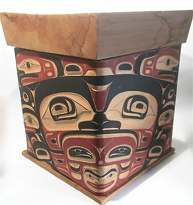 Pacific Northwest Coast Large Hand Carved Raven Wood Box Native Tribal