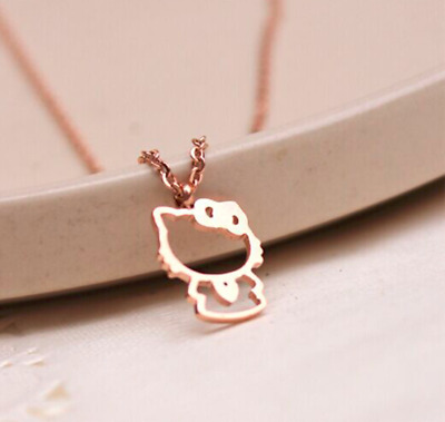 18KGP Gold Rose Gold Titanium Steel Hello Kitty Necklace with Gift Box