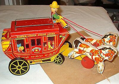 ****vintage 1954 Fisher Price Gold Star Stagecoach Pull Toy****very Nice!