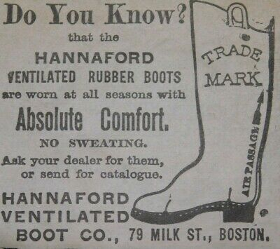 1870s-80s Hannaford Ventilated Rubber Boots Co. Boston, Victorian Print Ad L14