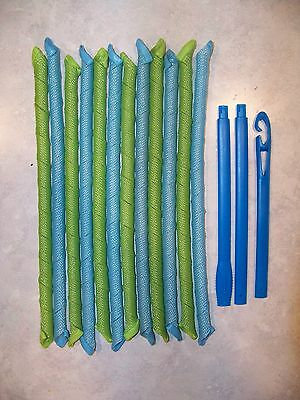 **new** 12 Extra Long And Narrow Spiral Hair Curlers Magic Roller For Curls