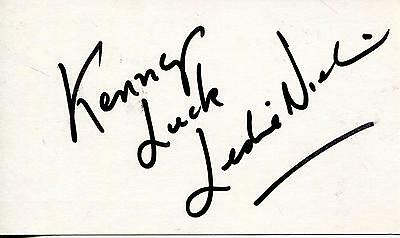 Leslie Nielsen Actor In Forbidden Planet & The Naked Gun Signed Card Autograph