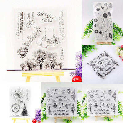 Christmas Tree & Flower DIY Silicone Clear Rubber Stamp Sheet Scrapbooking Album