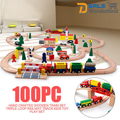 Multicolor Hand Crafted Wooden 100pc Train Set Triple Loop Railway Track Toy