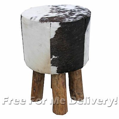 LUCINDA ROSE RODEO PONY STOOL BLACK COW HIDE & WOOD LEGS 45cm **FREE DELIVERY**