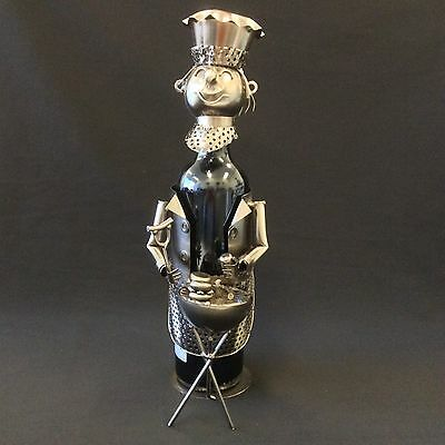 Metal Wine Bottle Holder/Rack Chief with BBQ Grill