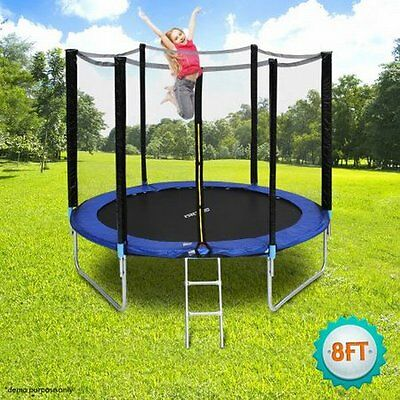 NEW 8FT Outdoor Fun Play & Exercise Genki Trampoline with 5ft Safety Enclosure