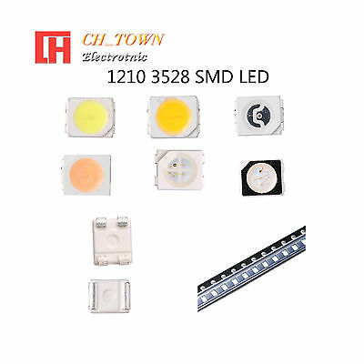 50 100pcs 1210 3528 SMT SMD PLCC-2 LED Diodes White Blue RGB Light Lamp Bulb