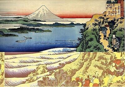 Set of 2 x Japanese Woodblock Prints By Hiroshige Mount Fuji Paintings Mountains