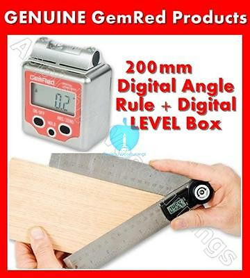 GEMRED 200mm Digital Rule + Level Box Angle Finders DOUBLE PACK