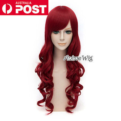 70CM Wine Red Long Curly Lolita Fashion Lady Cosplay Wig Heat Resistant