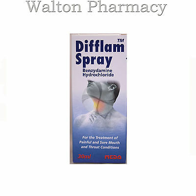 Difflam Spray 30ml treatment of sore mouth & throats fast relief fast delivey