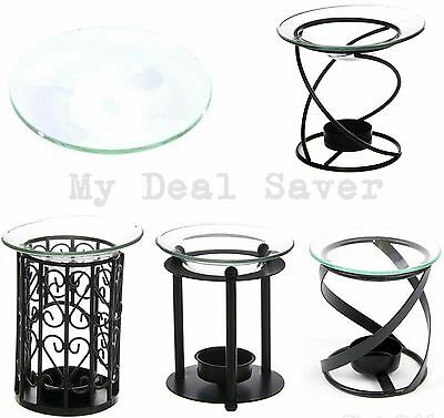 Glass Oil Burner Dish & Metal Oil Burner Wax Melt Yankee Fragrance Oil Tea Light