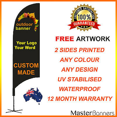 CUSTOM MADE Deluxe Double Sided Feather Bow Banner Flag Kit Business Sign 2-5m