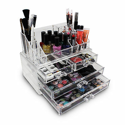 Acrylic Makeup Organiser Love Urban Beauty Clear Cosmetic Holder 4 Drawers