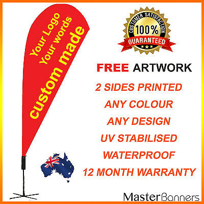 CUSTOM MADE Deluxe Double Sided Teardrop Banner Flag Kit Business Sign 2-4m