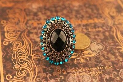 Blue imitation Diamond Gem Ring Finished in Ancient Bronze.Beautifully Made