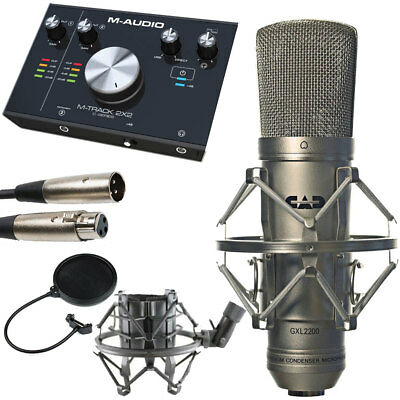 CAD GXL2200 Cardioid Condenser Mic with M-Track Audio Interface + Pop Filter