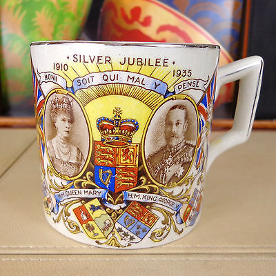 King George V & Queen Mary Silver Jubilee 1910 1935 Mug Cup Pot Royal Vintage