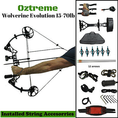 New 15-70lb Black Compound Bow and Arrow Adjustable Archery Hunting USA Limbs