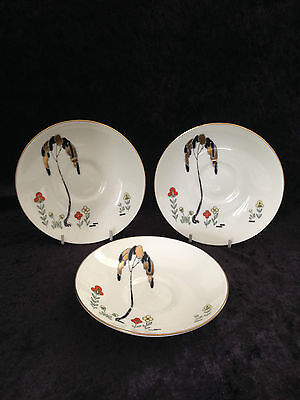 3 Rare Art Deco Royal Doulton Eden Pattern Saucers Gold Trees Clarice Cliff