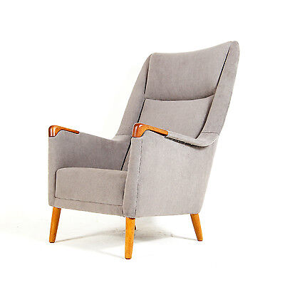 Retro Vintage Danish Oak Wool Lounge Easy Chair Armchair 1950s 60s Mid Century