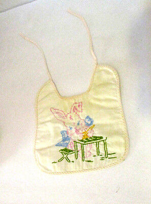 Vintage Baby Bib With Embroidered Rabbit