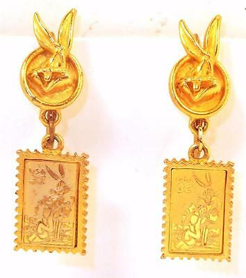 1997 Warner Bros Looney Tunes Bugs Bunny 32 Cent Stamp Pierced earrings Gold