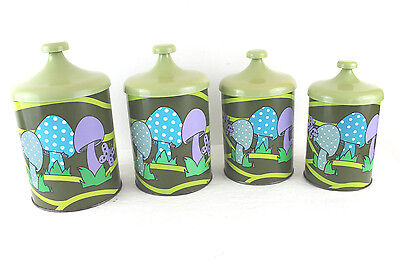PANTRY QUEEN VINTAGE 1970s MUSHROOM BUTTERFLIES PSYCHADELIC 4 pc CANISTER SET L6