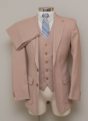 Vintage Mens 38R Haggar 3 Piece Tan Magic Stretch Suit