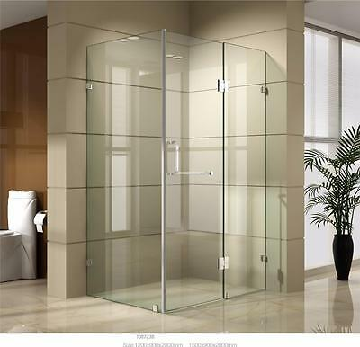 Shower Screen Bathroom Enclosure Frameless 900/900/2000mm Toughened Safety Glass