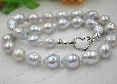 GORGEOUS 10-12mm gray Furrow Kasumi Real Pearl necklace