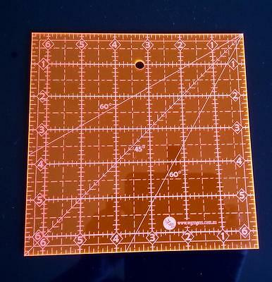 """6.5"""" SQUARE QUILTING RULER 6-1/2"""" X 6-1/2"""" SEWING TEMPLATE pink"""