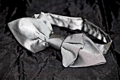 """BOW TIE - """"Silver Silk With Diamond Tips"""" - Handmade by Remarkable Bowties"""