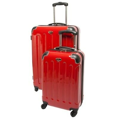 Swiss Case 4 Wheel Spinner ABS 2 PC Luggage Set RED Hardside Suitcases New