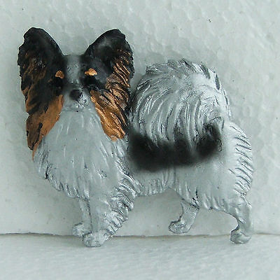 Papillon Tricolour Resin Brooch Handpainted Handcrafted Dog Breed Jewellery