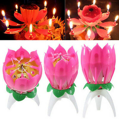 Musical Lotus Flower Rotating Happy Birthday Party Candle Cakes Light Lamp Decor